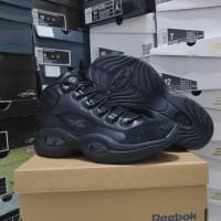 Sepatu Basket Reebok Question Iverson All Black Full Hitam