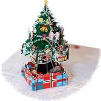 kartu ucapan 3D timbul 4D selamat natal merry christmas pohon tree