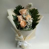 Buket bunga mawar peach bucket wisuda bouquet hadiah ulang tahun