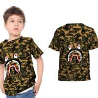 T shirt Kaos Anak Unisex A BATHING APE BAPE CAMO SHARK Fullprint 12