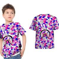 T shirt Kaos Anak Unisex A BATHING APE BAPE CAMO SHARK Fullprint 15