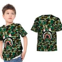 T shirt Kaos Anak Unisex A BATHING APE BAPE CAMO SHARK Fullprint 13