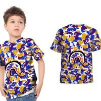 T shirt Kaos Anak Unisex A BATHING APE BAPE CAMO SHARK Fullprint 14