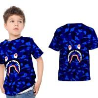 T shirt Kaos Anak Unisex A BATHING APE BAPE CAMO SHARK Fullprint 16