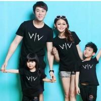 Baju Kaos Couple Family 2 Anak - Hitam 02