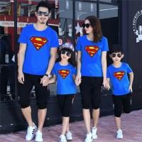 Baju Kaos Couple Family 2 Anak - Superman Blue
