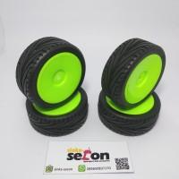 Ban dan Velg RC car 1/10 on road (hijau) bisa upgrade wltoys Car 1/18