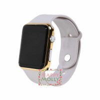 LED Watch Grey Gold Jam Tangan Digital Pria Wanita Strap Rubber