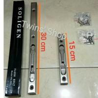 Grendel Tanam 30 cm utk pintu 2 / Slot / Flush Bolt Stainless Soligen
