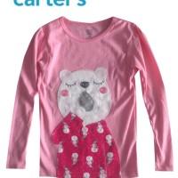 Baju Kaos Anak Perempuan Lengan Panjang Carter Pink Tua