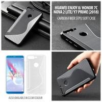 Huawei Honor 7C Y7 Prime 2018 Nova 2 Lite Carbon Fiber STPU Soft Case