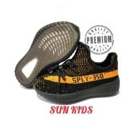 Sepatu anak Adidas Yeezy Boost SPLY 350 V2 Black strip orange