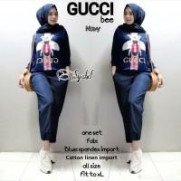 Baju Setelan Wanita Atasan Celana One set Gucci Bee Syabil