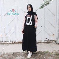 FILA TWO TONE DRESS ad//grosir baju muslim