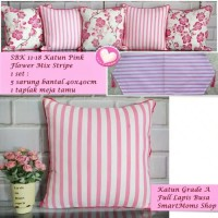 set sarung bantal sofa tamu shabby new motif PINK STRIPE MIX