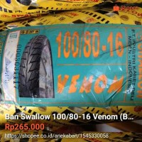 ban Swallow 100 80 16 VENOM Tubeles Ban belakang ukuran le Berkualitas
