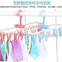 Jemuran Baju Hanger Traveling Lipat Dengan Penjepit Kaos Kaki Pakaian