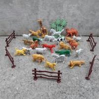 mainan set animal karet - kebun binatang unik anak hewan edukatif