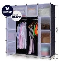 Lemari susun plastik portable rak baju bak buku 16 pintu lemari anak