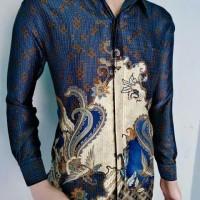 Kemeja Batik Pria Baju Batik Pria Semi Sutra Lengan Panjang