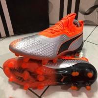 Soccer Puma One 1 Syn FG - Silver/Shocking Orange