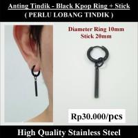 Anting Tindik Cowok Pria - Black KPOP RIng + Stick