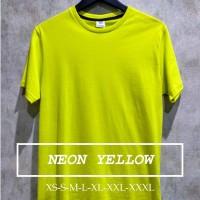 Kaos Polos Koze Unisex Warna Neon Yellow XS S M L XL
