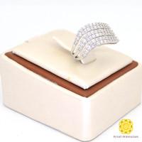 KNT Cincin Emas Putih Batu Swarovski Model Wanita 18K Berat 6 gram