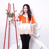 Blouse blus atasan wanita motif bunga renda 4 warna XL adem premium