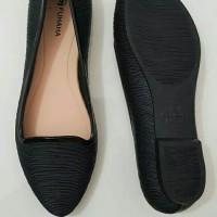Flat shoes karet jelly sepatu kerja wanita hitam full black fuhaha