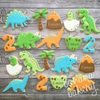 butter cookies dengan icing | kukis hias dino / dinosaurs