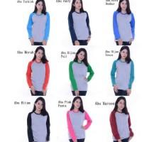 Baju Kaos RAGLAN POLOS LENGAN PANJANG FIT TO L /Atasan Murah Wanita