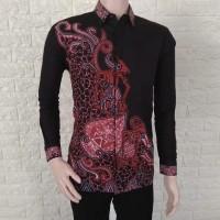 Kemeja lengan panjang/Batik wayang susun merah hitam