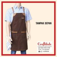 Apron Barista - Canvas Cokelat (synthetic leather)