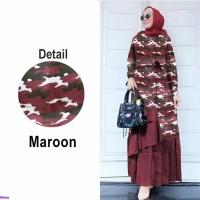 maxi Arnia/Baju muslim jumbo/gamis motif army/Gamis loreng/Fashion/IO