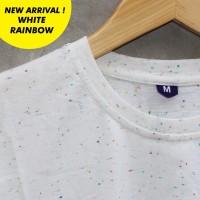 Distro Kaos Polos Baju Oblong WHITE RAINBOW Pria Wanita Cewe Cowo