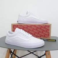 Sepatu Vans Oldskool Old Skool School Full White Putih DT Premium