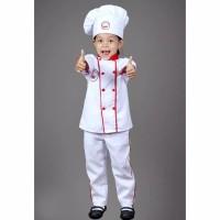 baju seragam karnaval profesi koki warna merah/ master chef anak