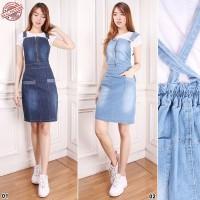 Overall Midi Skirt Tucy Jumpsuit Dress Jeans Wanita