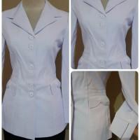 Baju atasan Blazer seragam putih PNS WANITA kerja Guru Perawat Jumbo