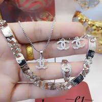 xuping set perhiasan kalung gelang cincin lapis emas 24k 2188