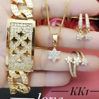 xuping set perhiasan kalung gelang cincin lapis emas 24k 2107