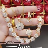 xuping set perhiasan kalung gelang cincin lapis emas 24k 21109