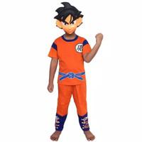 Baju kostum anak Son Goku Dragon Ball / Setelan kaos topeng anak kado
