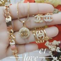 xuping set perhiasan kalung gelang cincin lapis emas 24k 2230