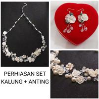 Perhiasan set pesta kalung dan anting JS016