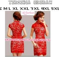 BANYAK UKURAN Dress baju merah cewek wanita imlek tahun baru cina