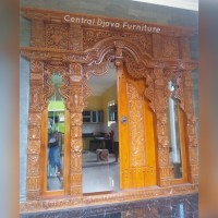 Kusen & Pintu Rumah Gebyok Jawa Kaca Kayu Jati Ukir/Ukiran Jepara