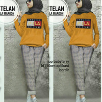 Baju Setelan Wanita / Setelan Muslim Remaja / Set Italian Fila Mustard