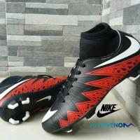 Sepatu Sepak Bola Nike Soccer Hypervenom High Hitam Merah Football